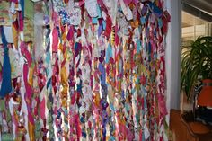 Sewing Curtain boho chic no sew gypsy rag curtains Fabric Strip Curtains, No Sew Curtains, Rod Pocket Curtains, Fabric Strips, Mint Curtains, Fabric Walls, Sewing Blogs, Easy Sewing Projects, Sewing Hacks