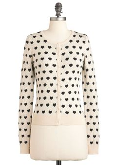 Best Heart About It Cardigan - Cream, Black, Buttons, Work, Casual, Long Sleeve, Short