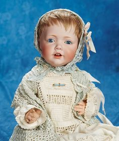 """Lot: 15"""" (38 cm.) German bisque character """"Hilda"""" by Kestner in wonderful antique costume 1500/1800 
