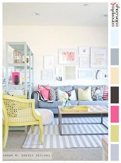 eclectic living room design, diy decorating ideas, light walls, gray and white striped rug, yellow accents, blue-gray sofa, hot pink accents, greenish-yellow, interior color palettes