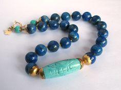Lapis Lazuli Turquoise Necklace solid Brass  by pinkowljewelry, $139.00