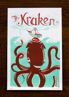 """The Kraken"" by Alex Pearson, part of the wonderful Monster Friends Poster series on Familytree. Kraken, Cute Monsters, Sea Monsters, Tree Monster, Happy Monster, Family Tree Designs, Friends Poster, Design Art, Graphic Design"