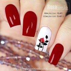 Uñas Rosa Fingernails Painted, Cute Acrylic Nails, Cute Nails, Pretty Nails, Elegant Nails, Stylish Nails, Red Nails, Hair And Nails, Short Square Nails