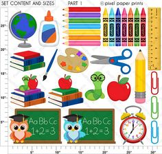 Back to school Clipart and Digital paper set by pixelpaperprints