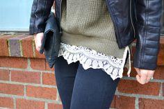 Olive Sweater, Lace trim, Leather Jacket | Fishbowl Fashion