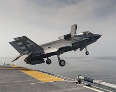 Short Takeoff at Sea by Lockheed Martin Military Jets, Military Weapons, Military Aircraft, Stealth Aircraft, Stealth Bomber, Air Fighter, Fighter Jets, F35 Lightning, Airplane Fighter