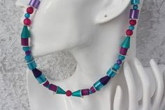 Ketten kurz - Kette Polaris türkis lila Schmuck pink - ein Designerstück von trixies-zauberhafte-Welten bei DaWanda