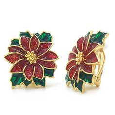 Call it Christmas, Holidays or even Xmas but one thing is for sure wearing holiday earrings is all the rage for Christmas 2017.   Admittedly I love to wear earrings so I may be biased a tiny bit but seriously these Christmas earrings are worth checking out  Poinsettia Clip On Earrings Christmas Flower Red Green Enamel Gold Plated Women Fashion