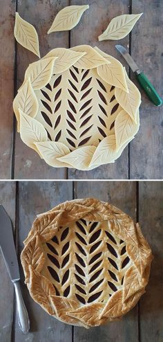 Pretty leaves pie crust!