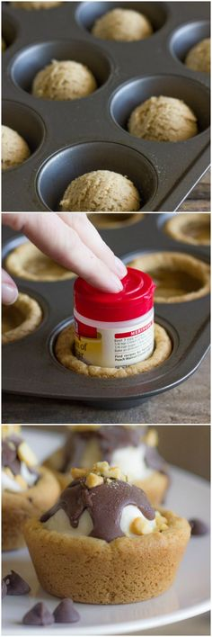 Cute little cookie cups filled with ice cream and topped with homemade magic shell! Great for the holidays!
