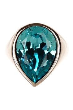 Sterling Silver Turquoise Swarovski Crystal Accented Pear Shaped Ring