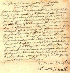 Historical Document Convening Salem Witch Trials | Moments in Time
