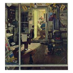 """Shuffleton's Barbershop"",1950  Norman Rockwell"