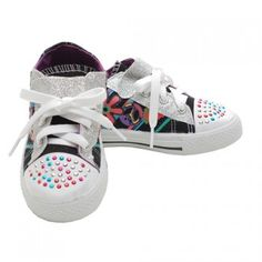 Coco Little Girls Black Peace Sign Glitter Studded Lace Sneakers 11-4