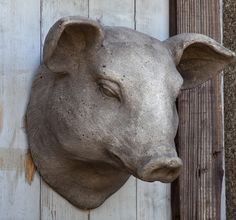 Pig Decor | Pig Head Mount | Stone Pig Head | Animal Head Wall Decor