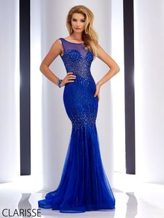 Clarisse 2016 couture prom dress style 4750. Beautiful, long, sexy fitted sheer sparkly blue mermaid prom dress.http://clarisse.us/locator/index.php