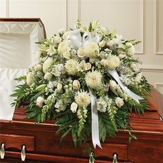 WHITE MIXED HALF CASKET COVER | The Flower Market