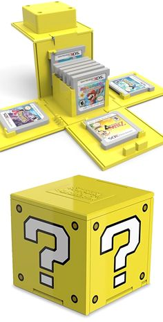 gamer room Keep your games organized and protected with this Pop N Display Question Block case! Theiconic box from Super Mario pops open with the push of a button to display a library o Super Nintendo, Super Mario Bros, Nintendo Games, Arcade Games, Donkey Kong, Nintendo Entertainment System, Ds Xl, Game Organization, Gamer Room
