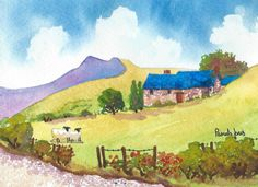 Original Watercolour Painting Country by Pamelajonesartstudio