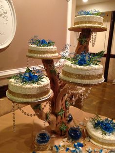 Tree branch cake stand/wedding cake idea/quinceañera cake***Made it myself ***