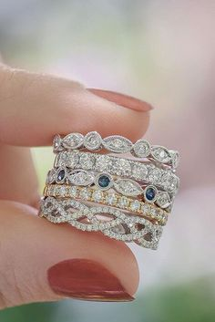 Wedding bands or right hand rings beautiful things pinterest 39 best stackable wedding rings set more rings more shine junglespirit Image collections