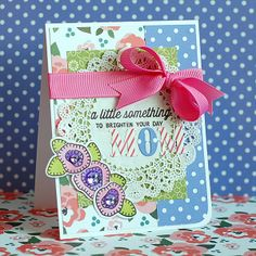 Lea Lawson for Wplus9 featuring Blanket Stitched Blooms stamps and dies, and Folk Art Alphabet die.