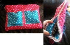 Homemade bag for tablet. The pockets are for charger and headphones.