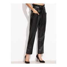 SheIn(sheinside) Black Self Tie Pocket Front PU Pants ($25) ❤ liked on Polyvore featuring pants, capris, black, stretch trousers, high-waist trousers, stretch crop pants, high waisted cropped trousers and highwaist pants