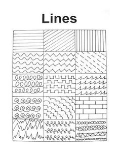 Handout for Art Education A hand-drawn handout filled with many interesting lines to inspire art students of all ages!A hand-drawn handout filled with many interesting lines to inspire art students of all ages! Middle School Art, Art School, Basic Drawing For Kids, Art Doodle, Art Handouts, Art Worksheets, Doodle Patterns, Easy Patterns To Draw, Line Patterns