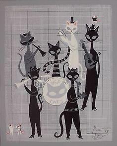 EL GATO GOMEZ PAINTING RETRO 1950S BEATNIK BLACK CAT JAZZ ILLUSTRATION MCM EAMES