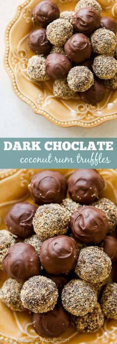 These are made with coconut rum, chocolate, honey, toasted pecans, and graham cracker crumbs. So easy! Rum Truffles, Coconut Truffles, Coconut Rum, Coconut Cupcakes, Pecan Desserts, Just Desserts, Chocolate Bonbon, Dark Chocolate Truffles, Alcohol Chocolate