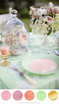Peach And Pink Wedding Colors | Pink, Mint, Peach, + Gold : Color Inspiration Mint green, peach, light ...