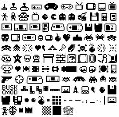Just load this font on your computer, and you'll be able to make your own fun scenes using a variety of pixel characters and mini video game systems. Video Game Font, Pixel Tattoo, Pixel Characters, Nintendo Characters, 8bit Art, Pixel Pattern, Grafik Design, 8 Bit, Game Design