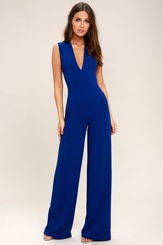 Lulus Exclusive! Your admirers will have a lot to say about their love for you in the Thinking Out Loud Royal Blue Backless Jumpsuit! Medium-weight knit is formed to a sleeveless bodice, with a V-neck, darting, and wide straps that cross over the open back. Bit of elastic at the waist tops the wide-leg pants.