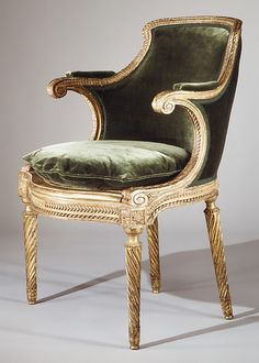Desk chair (Fauteuil de cabinet) Georges Jacob  (1739–1814, master 1765) Date: ca. 1785 Culture: French Medium: Carved and gilded beech; caning; modern silk velvet Dimensions: H. 33-5/8 x W. 23-1/2 x D. 20 in. (85.4 x 59.7 x 50.8 cm) Classification: Woodwork
