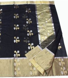 Black Chanderi Handloom Silk Saree-------------------------Sarees are the embodiment of Indian diversity and culture and has its own grace and charm. Beauty of a woman is further enhanced when she is clad in a saree. ------------Sarees from luxurionworld.com