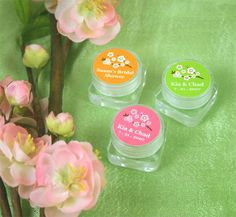 Cherry Blossom Hand Cream Wedding Favor is filled with luxurious hand cream that features a scent of peonies, jasmine and white lilies.  The label is available in many colors while the cherry blossom is available in two different colors.  This item can be personalized.