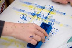 Lego painting - kids can experiment with the different surfaces/textures of each side of the Lego and get creative!