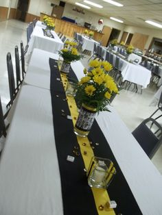 Class Reunion Table Decorations   table arrangements for the class reunion, we mod-podged copies of ...