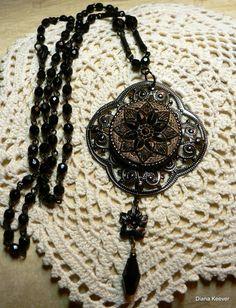 Midnight Garden Vintage Button Pendant & Beaded Chain