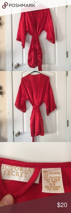 Victoria's Secret robe, dark red with lace, S Really pretty robe from Victoria's Secret. It's in great condition! It's a dark red with a lace, sequin, and beading on the opening of the robe and the sleeves Victoria's Secret Intimates & Sleepwear Robes