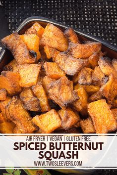 You have got to try this Spiced Butternut Squash recipe! It's absolutely bursting with flavor, it's vegan-friendly and it's made easily in an air fryer. Air Fryer Recipes Vegetarian, Air Fryer Recipes Vegetables, Air Fryer Recipes Snacks, Air Fryer Recipes Low Carb, Air Frier Recipes, Air Fryer Recipes Breakfast, Vegetable Recipes, Vegan Recipes, Vegan Vegetarian