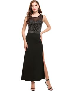 Black Women Casual Sleeveless Mesh Patchwork O Neck Mermaid Evening Dress
