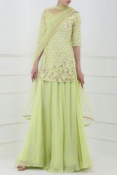 POOJA PESHORIA  Lime Green Embroidered Sharara Pants Set #poojapeshoria #lime #green #embroidered #sharara #pants #Set