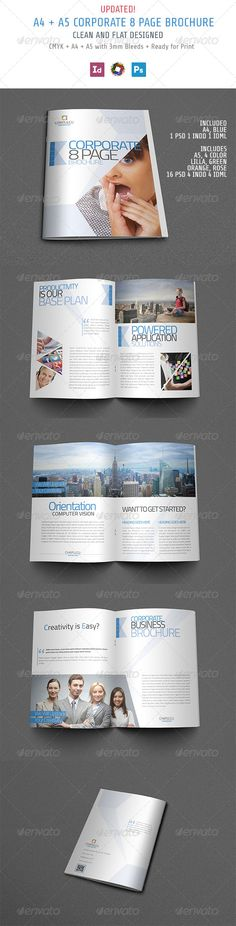 Clean & Multipurpose Corporate Brochure Template. 8 page of awesomeness made in  #IndesignTemplate. Download http://graphicriver.net/item/brochure/5027199?ref=themedevisers