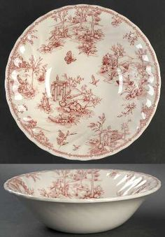 red & white toile plate and bowl