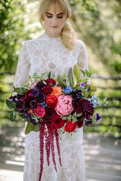 Our bride poses at Houdini Estate with her moody jewel-tone bouquet by Los Angeles Floral Designer Winston & Main. Jewel Tone Wedding, Purple Wedding, Floral Wedding, Wedding Colors, Dress Wedding, Backless Wedding, Jewel Tone Colors, Jewel Tones, Wedding Art