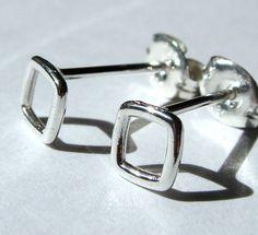 5mm Open Square Mini Sterling Silver Earrings by phoebestreasure, $12.00