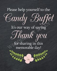 8x10 Black and White Chalkboard Girl's Baby Shower Candy Buffet Sign with Light Pink Flower by WeddingsBySusan