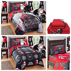 Disney Star Wars Kylo Ren Kids Reversible Comforter  Microfiber Sheets Bedding Set  Full *** More info could be found at the image url.
